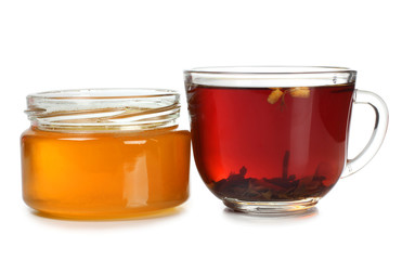 Tea and honey in glass