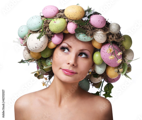 Easter Woman. Spring Smiley Girl