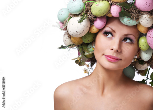 Easter Woman. Spring Smiley Girl with Eggs