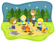 Children campfire in the wilderness at night (vector)