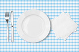 plate, fork, knife and napkin over blue checked fabric tableclot