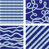 Set of Seamless nautical patterns on blue background with white