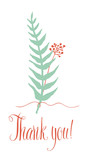 Thank you card with fern and twig