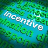 Incentive Word Cloud Shows Bonus Inducement Reward poster