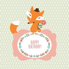 Fox with flowers, Greeting card