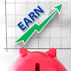 Earn Graph Means Rising Income Gain And Profits