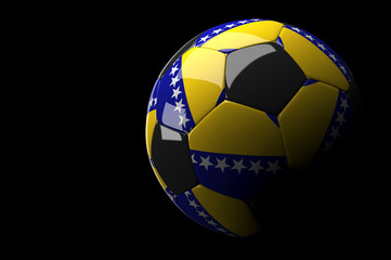 Bosnia Herzegovina soccer ball on dark background
