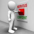 Постер, плакат: Nervous Confident Switch Shows Nerves Or Confidence