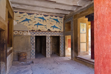 Details of queen's room at Knossos palace, island of Crete