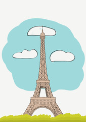 The Eiffel Tower in Paris  France  vector illustration