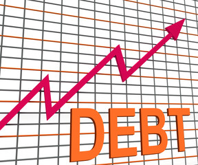 Debt Graph Chart Shows Increasing Financial Indebted
