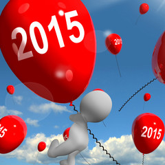 Two Thousand Fifteen on Balloons Shows Year 2015