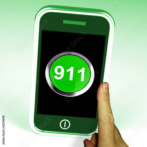 Nine One On Phone Shows Call Emergency Help Rescue 911