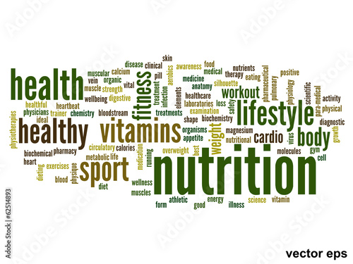 Vector conceptual nutrition health word cloud