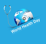 Beautiful World health day blue colorful shiny globe with creati