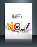 Beautiful text holi brochure colorful template card illustration