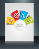 Holi colorful stylish text brochure festival template celebratio