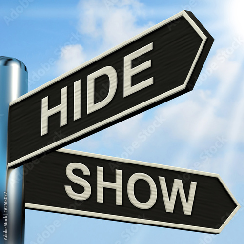 Hide Show Signpost Means Obscured And Visible