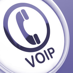 Voip Button Means Voice Over Internet Protocol Or Broadband Tele