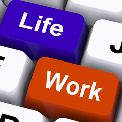 Life Work Keys Show Balancing Job And Free Time
