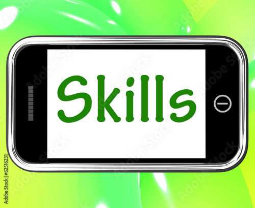Skills Smartphone Shows Training And Learning On Web