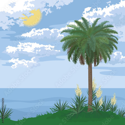 Tropical island with palm and flowers