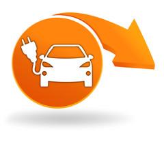 voiture électrique sur bouton orange
