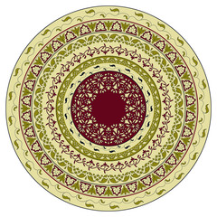 Vector circle  floral pattern, indian style