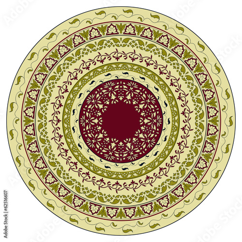 Vector circle  floral pattern, indian style - 62516607