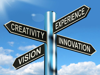 Creativity Experience Innovation Vision Signpost Means Business
