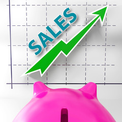 Sales Graph Means Increased Selling And Earnings