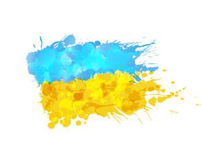 Ukrainian  flag made of colorful splashes