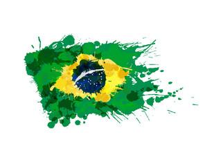 Brazilian flag made of colorful splashes