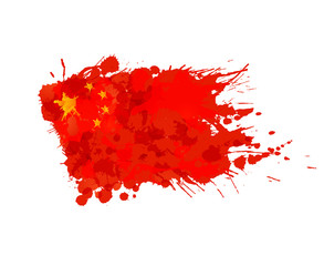 Chinese flag made of colorful splashes