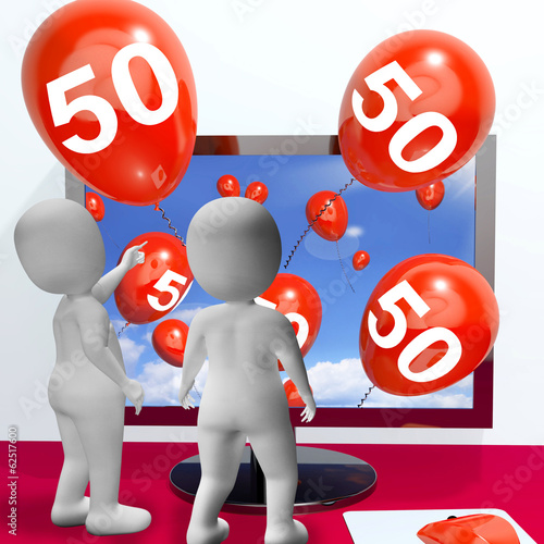Number 50 Balloons from Monitor Show Online Invitation or Celebr