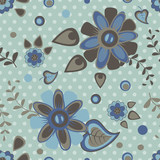 Seamless pattern with summer blue flowers