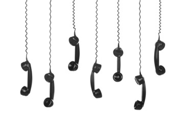 Old Vintage Black Telephone Handsets isolated