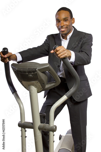 Young black businessman working out after office hours