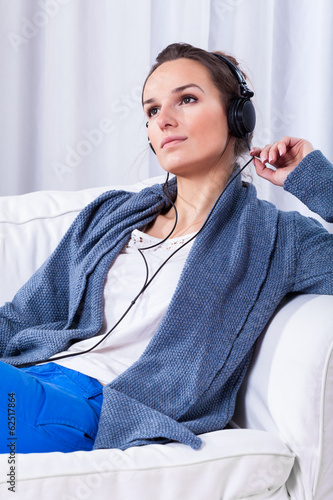 Woman during listening to music