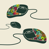 Computer mouse decorated with design print.