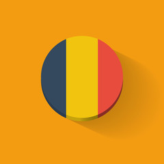 Round icon with flag of Romania
