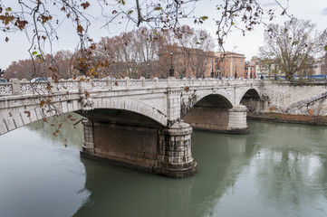 Bridge over the Tiber River, Rome, Italy