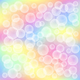 colorful spring background with bubbles in different sizes