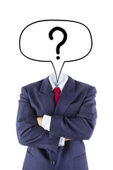 invisible businessman ask question