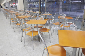 Interior of an empty cafe