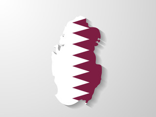 Qatar  flag map with shadow effect