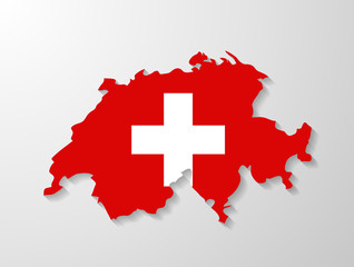 Switzerland flag map with shadow effect