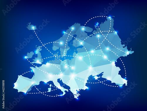 Mapa Europy wielokątna z miejscami świateł punktowych