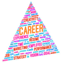 Advancing To The Top Of The Pyramid In Career Word Cloud Vector