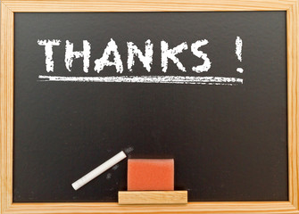 Thanks ! Word on a chalk board